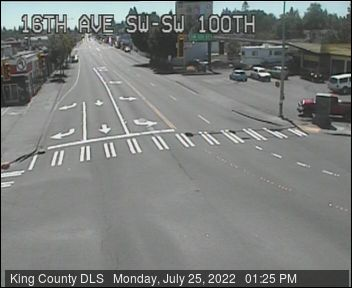Traffic camera: 16th Ave SW at SW 100th St (northeast corner)